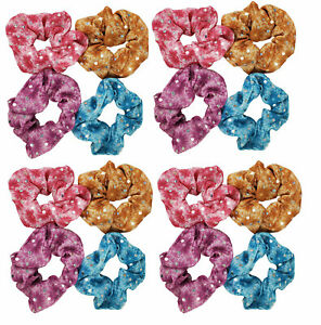 16 Medium Scrunchies Hair Tie Holder Butterfly with hologram Silver Polka Dots