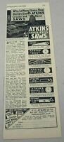 1930 Print Ad Atkins Silver Steel Saws Made in Indianapolis,IN
