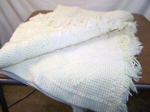 Ivory Knit Fringe Winter Warm Throw Blanket 80x54
