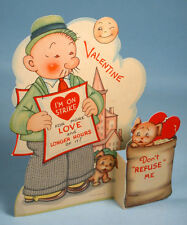1930s Wimpy Popeye Fold-out Valentine's Day Card Die-cut Cartoon Comic Strip