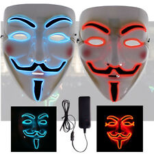 Halloween LED Red Blue Cosplay Anonymous Vendetta Guy Fawkes Light Mask Costume