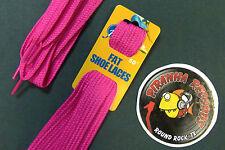 "Hot Pink Fat Flat 50"" x (5/8""-3/4"") JN Shoelaces Shoe Strings Piranha Records"