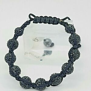 Lucet Mundi Ladies Black Crystal and Hematite Shamballa Bracelet