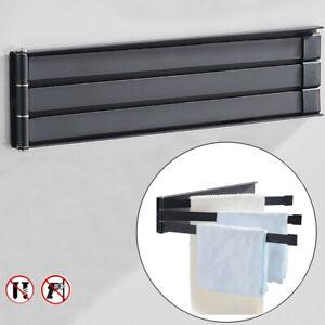 Space Aluminum Towel Rail Rack Holder Wall Hanger Swivel 4 Swing Arm Polished