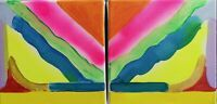 Mountains and Sea Colourful Original Acrylic Painting Signed By Nigel Waters
