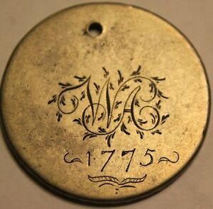 "1600's GREAT BRITAIN SILVER CROWN LOVE TOKEN - ""WA 1775 """