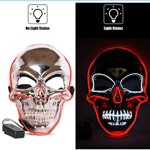 Halloween Clubbing Light Up  LED Mask Ghost Face Masks Costume Cosplay EDC Party