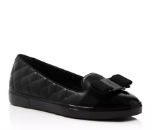 Salvatore Ferragamo Women Lady Q Quilted Leather Ballet Flats Black Sz 39 C NIB