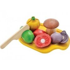 PlanToys Assorted Vegetable Set -Kids Plan Toys Wooden Cutting Food Pretend Play