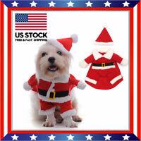 Pet Dog Puppy Christmas Clothes Apparel Santa Claus Costume Outfit W/ Xmas