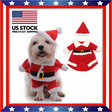 New listing Pet Dog Puppy Christmas Clothes Apparel Santa Claus Costume Outfit W/ Xmas Hat