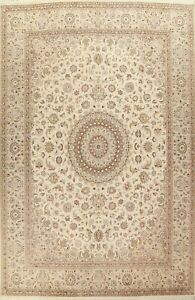 Wool/ Silk Floral Tebriz Oriental Large Area Rug Vegetable Dye Handmade 10'x14'