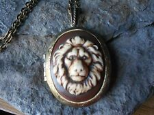 LION CAMEO (HAND PAINTED) BRONZE LOCKET NECKLACE- LION'S HEAD, QUALITY, UNIQUE