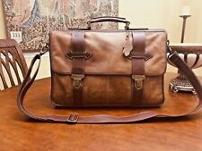 ROOTS  Heavy Duty Burnished Leather Briefcase / Messenger bag - Made in Canada