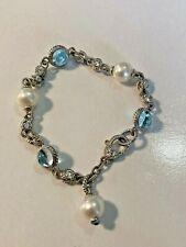 "Judith Ripka Sterling Silver Blue Topaz Pearl & Diamonique Bracelet 7 1/2"" Never"
