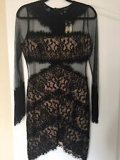 Forever 21 Black Lace Dress Large Bodycon Sheer Mesh