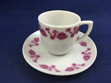 Vintage Pink Flowers on White Mini Cup and Saucer Set Demitasse