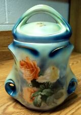 "Vtg Estate Find ~ Bavaria Germany ROYAL BAYREUTH Rose Bush TOBACCO JAR ~ 8"" High"