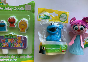 Sesame Street Cookie Monster Abby 1st Birthday Party Candles Cake Topper Toy