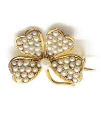 Hermoso de oro 9 CT Victoriano semilla Pearl 4 Hoja Trébol Broche