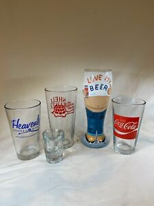 Set of 5 Mugs Lot Clear Glass Stein Tall Beer mismatched lot e757