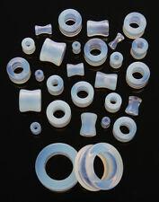 1 Pair 8g Organic Opalescent Stone Tunnels Eyelets Ear Eight Gauge 3mm Opal