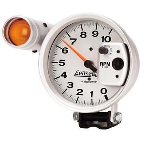 """AutoMeter 233911 - Autogage Shift-Lite Tach 10K RPM 5"""" Dia. Electrical - Silver"""