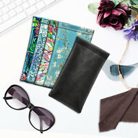 Portable Squeeze Top Eyeglasses Pouch Soft Glasses Case with Cleaning Cloth