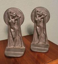 Vintage 1920's Art Deco Bronze Nude Keyhole Bookends
