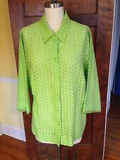 JH Collectibles 3x Green Cotton Blend Short Sleeve Blouse
