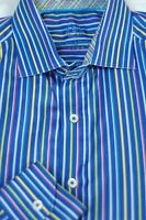 Bugatchi Uomo Men's Bright Blue Colorful Stripe Cotton Casual Shirt L Large
