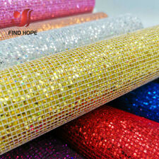 Plaid Sequin Glitter Iridescent Faux Leather Fabric Material For Craft Bag DIY
