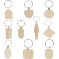 5/10x Key Ring Keyring Keyfob Keychain Wood Blank Tag Hanging Pendant Bag Gad_ti