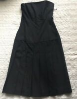 Theory Women's Black Spade Wool Blend Strapless Dress Pleated Size 0 New NWT