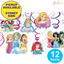 DISNEY PRINCESS PARTY SUPPLIES 12 SWIRL BIRTHDAY HANGING DECORATIONS