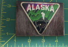 Alaska Magnet - Cabin Scene with Northern Lights - Fake Wood back - Made in USA
