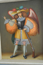 archangel angel oil painting on canvas cuzco school spainish colonial religious