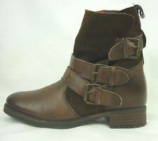 Buffalo London Brown Leather Ankle Boots Buckles Straps Hunger Games Size 8