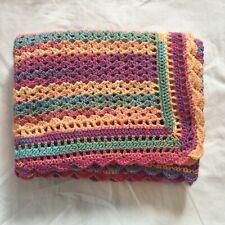 Small Handmade Blanket, Multicoloured Soft Acrylic Yarn DK 96x102cm BL5