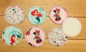 6 x Reusable Make Up Pads / Face Wipes ~ Eco Friendly    Disney Themed