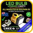 LED 3.2-9V UPGRADE CREE 3W BULB GLOBE for DOLPHIN,MAGLITE,FLASHLIGHT,TORCH 220lm