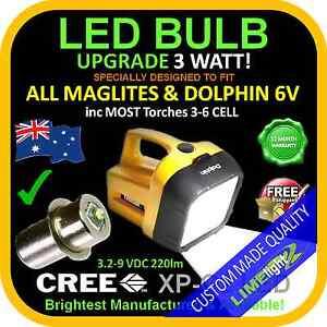 DOLPHIN MAGLITE UPGRADE LED 3.2-9V CREE 3W BULB GLOBE FLASHLIGHT TORCH 250lm AU