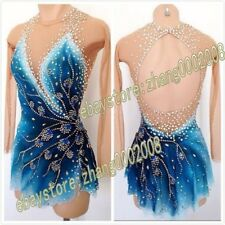 ice figure skating competition dress 2018 Gymnastics costum blue dance Dress