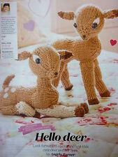 Knittng Pattern To Make Mummy & Baby Deer In D.K. Yarn-5ins and 7.5ins  tall