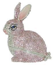 Pink Rabbit Bunny Bejeweled Swarovski Enamel Hinged Trinket Box