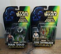 Kenner Star Wars 1996 POTF2 Tri-Logo Deluxe Luke Skywalker & Han Solo Lot MOC