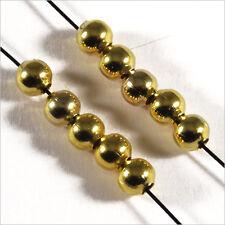 Lot de 100 perles Rondes 4mm en Métal Doré