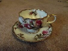 Antique Footed Tea Cup & Saucer Hand Painted relco japan pink magenta roses