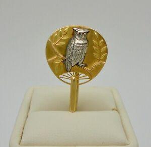 Antique c.1878 Tiffany & Co. Owl Bird Japanese Fan Brooch Pin 18k Gold & Silver