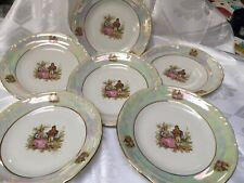 CHODZIEZ Poland Porcelain 6 Plates Snack Set Gold Trim 7""